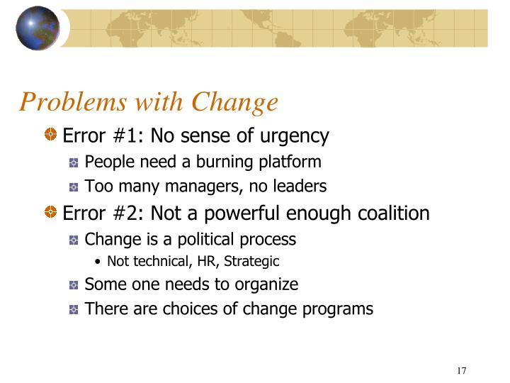 Problems with Change