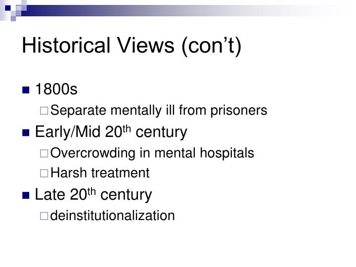 deinstitutionalization of the mentally lll essay Deinstitutionalization is a government policy that moved mental health patients out of state-run insane asylums into federally funded community mental health centers it began in the 1960s as a way to improve treatment of the mentally ill while also cutting government budgets.