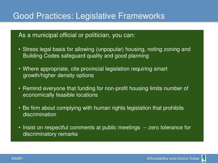Good Practices: Legislative Frameworks
