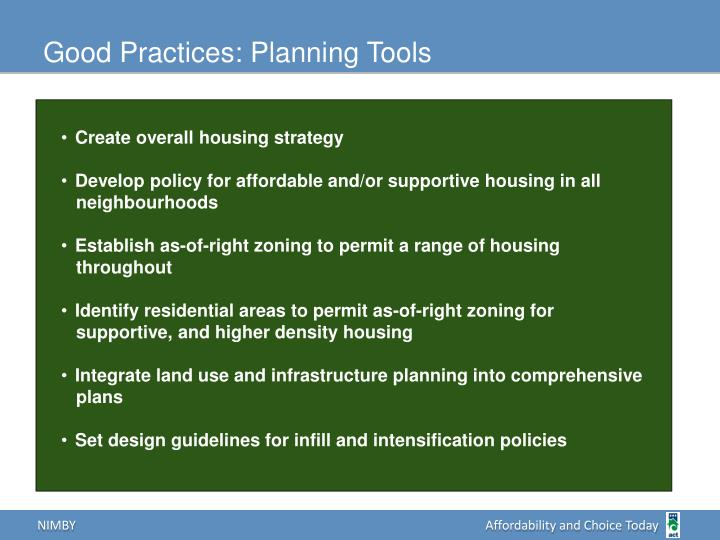 Good Practices: Planning Tools