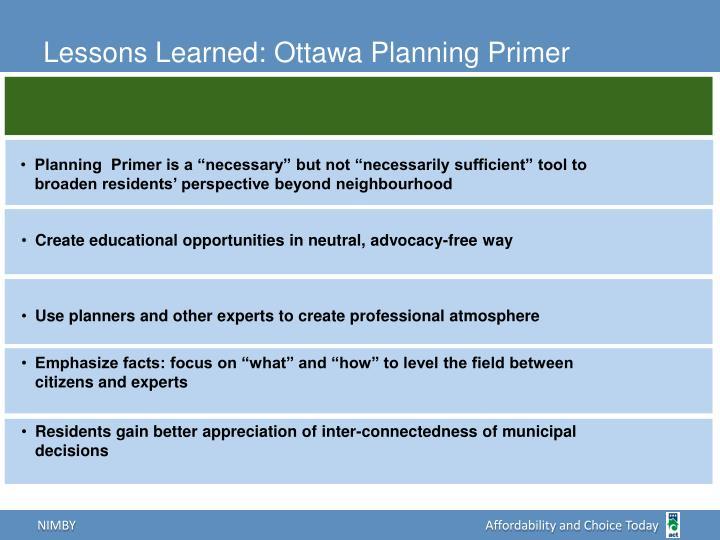 Lessons Learned: Ottawa Planning Primer