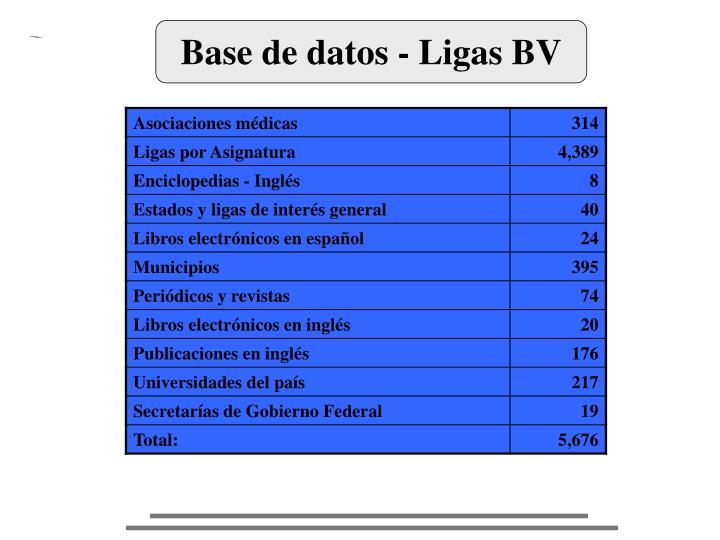 Base de datos - Ligas BV