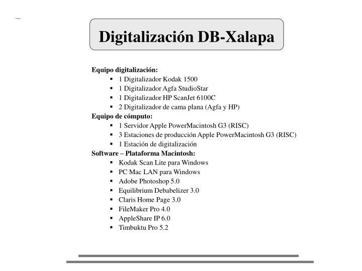 Digitalización DB-Xalapa
