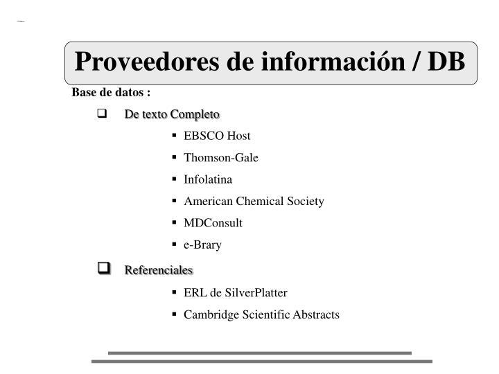 Proveedores de información / DB