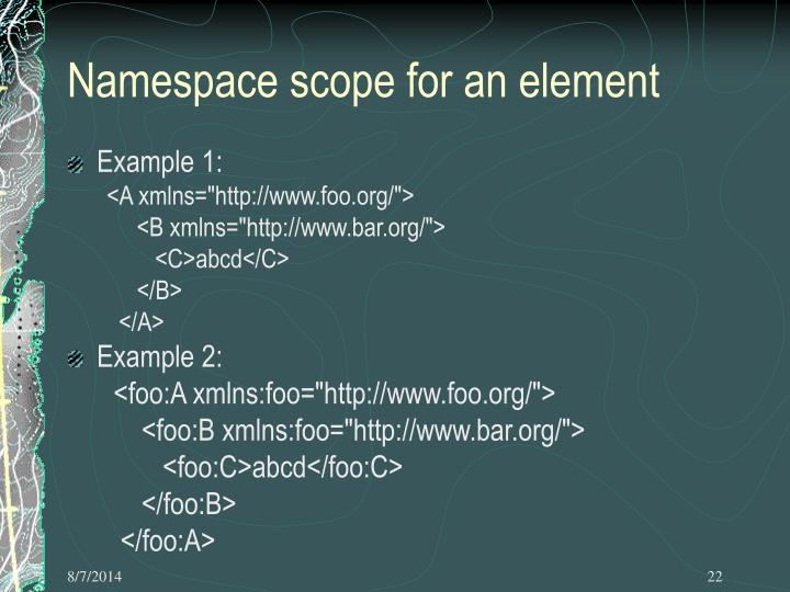 Namespace Scope For An Element