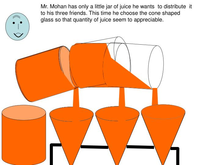 Mr. Mohan has only a little jar of juice he wants  to distribute  it to his three friends. This time he choose the cone shaped glass so that quantity of juice seem to appreciable.