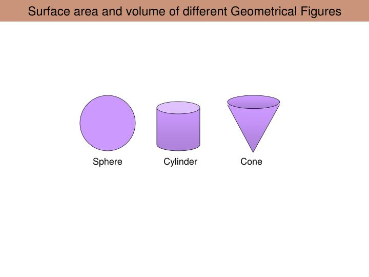 surface area and volume of different geometrical figures n.