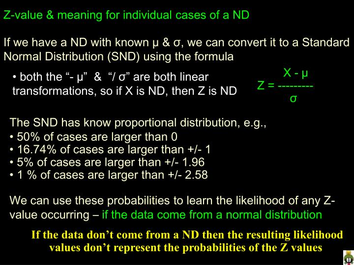 Z-value & meaning for individual cases of a ND