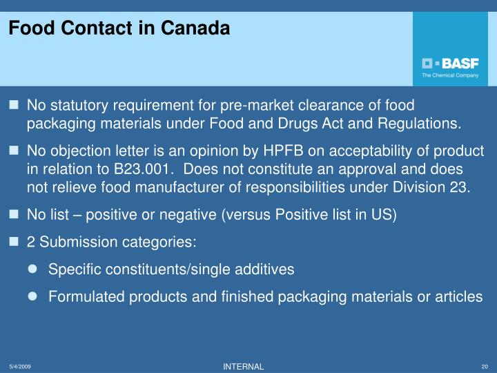 Health Canada Food And Drug Regulations Division