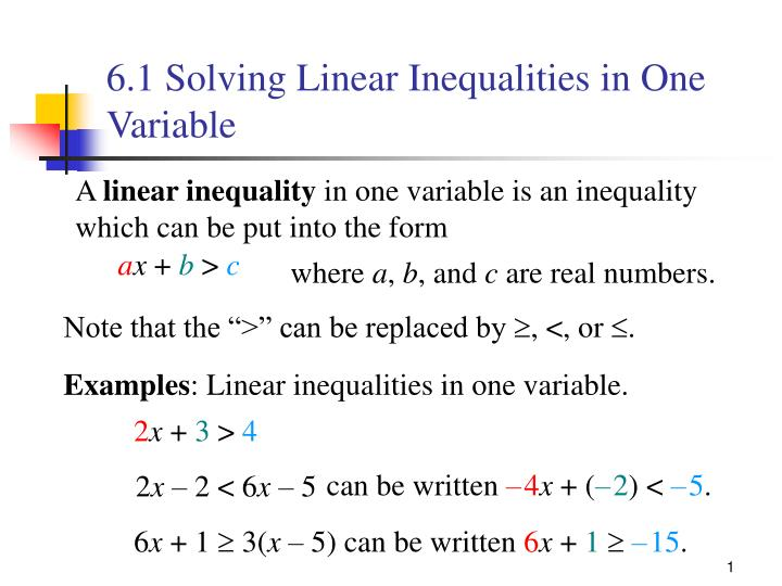 6 1 solving linear inequalities in one variable