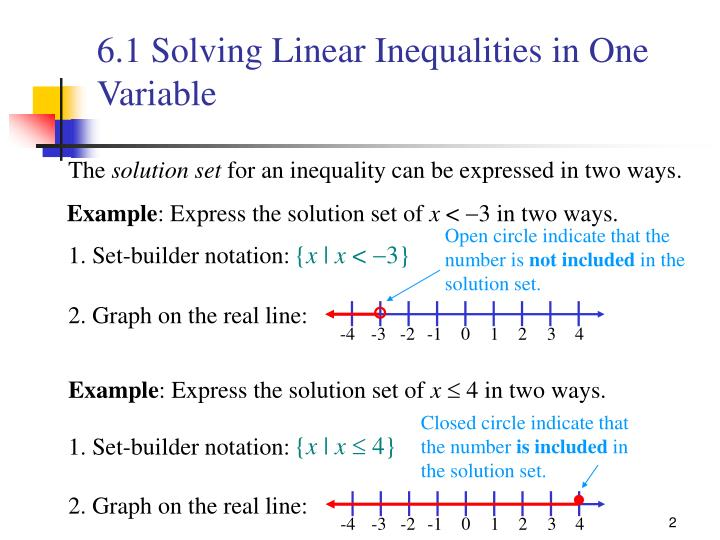 6 1 solving linear inequalities in one variable1