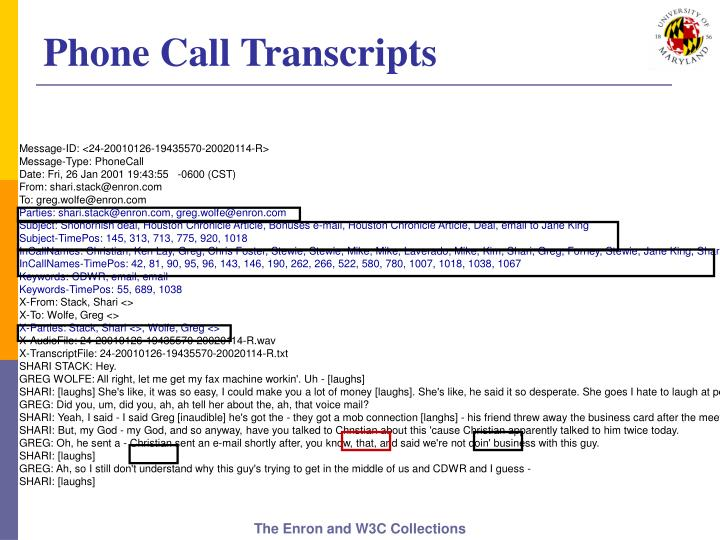 Phone Call Transcripts