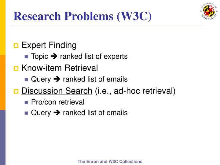 Research Problems (W3C)