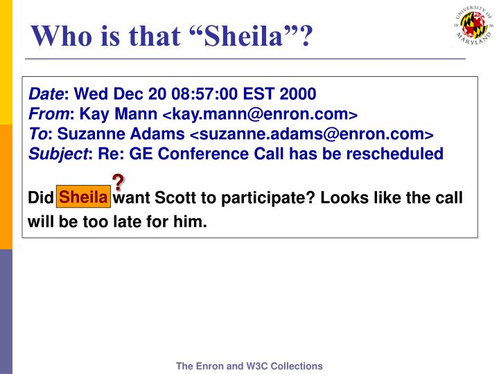 """Who is that """"Sheila""""?"""