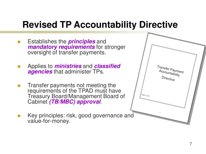 Transfer Payment Accountability