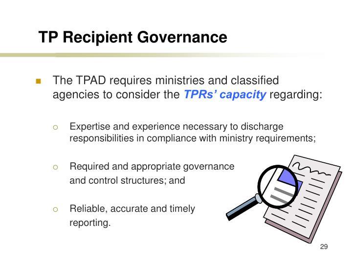 TP Recipient Governance