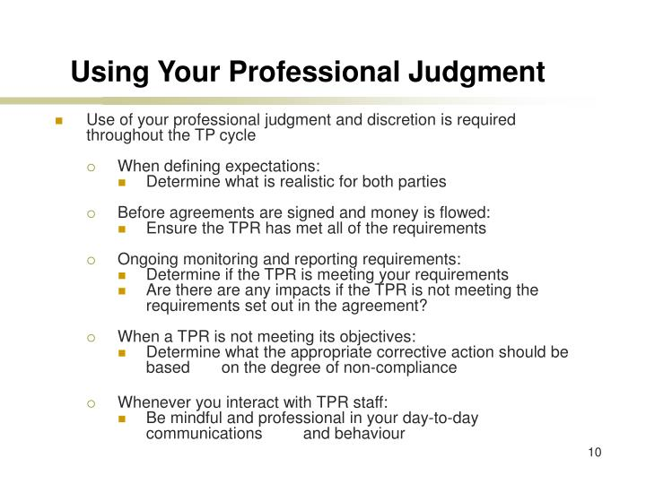 Using Your Professional Judgment