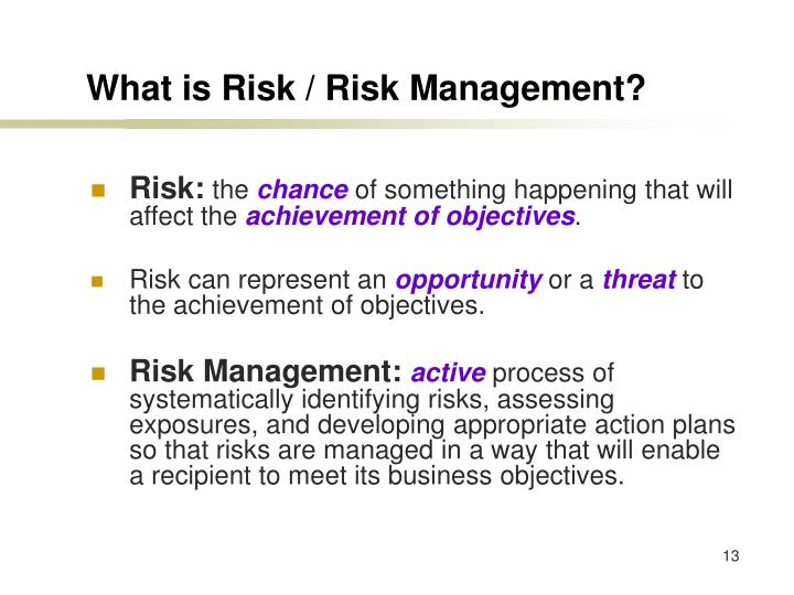 What is Risk / Risk Management?