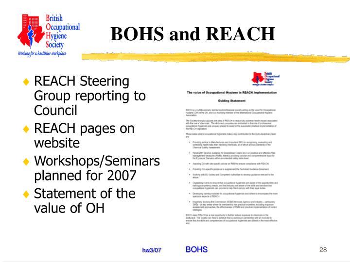 BOHS and REACH