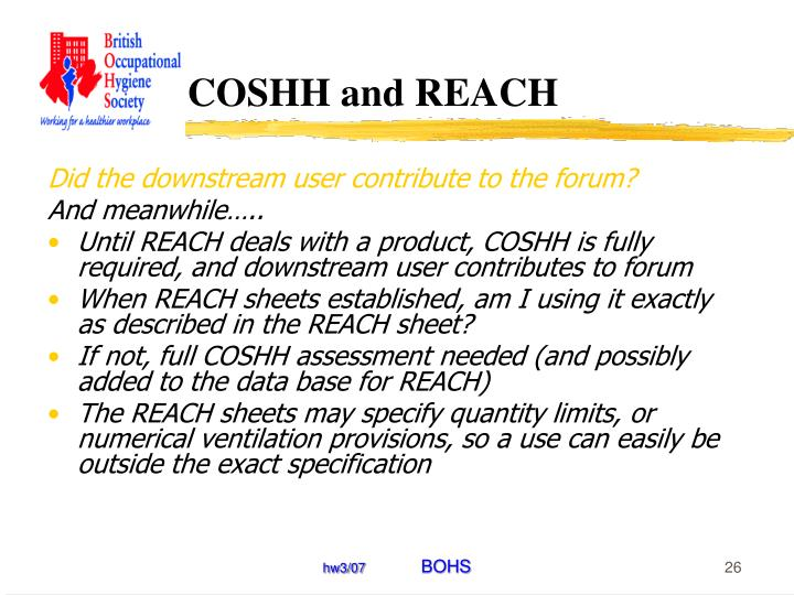 COSHH and REACH