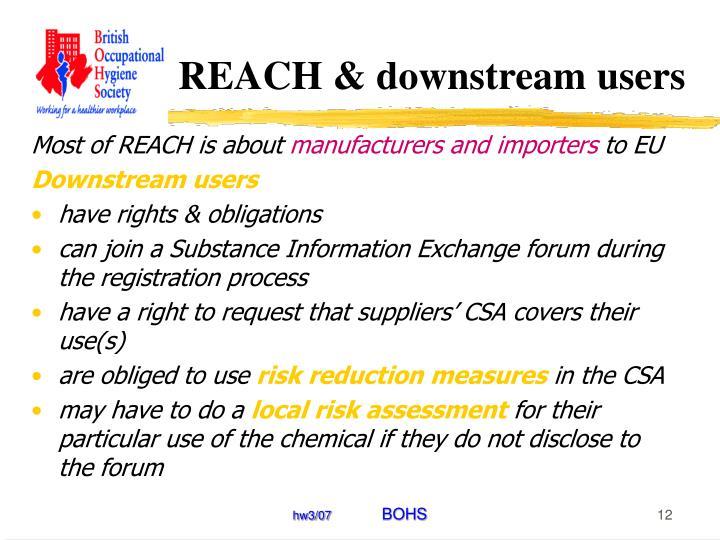 REACH & downstream users