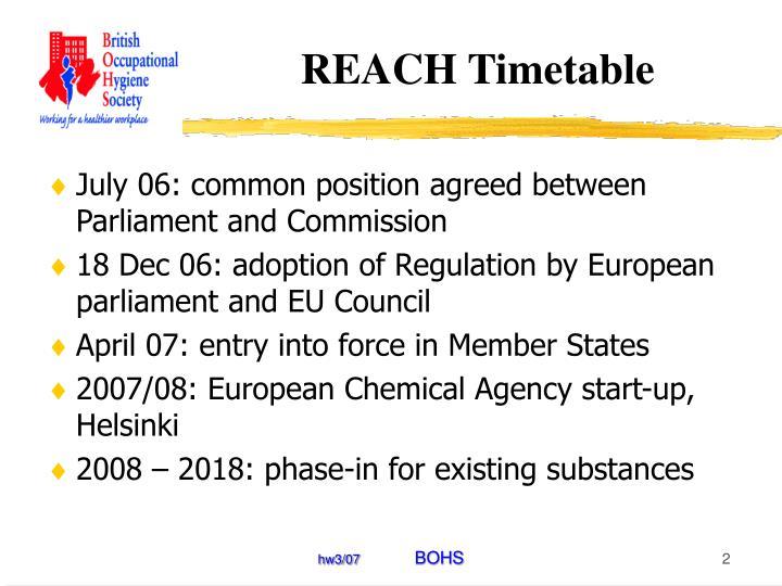Reach timetable
