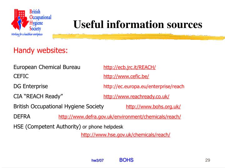 Useful information sources