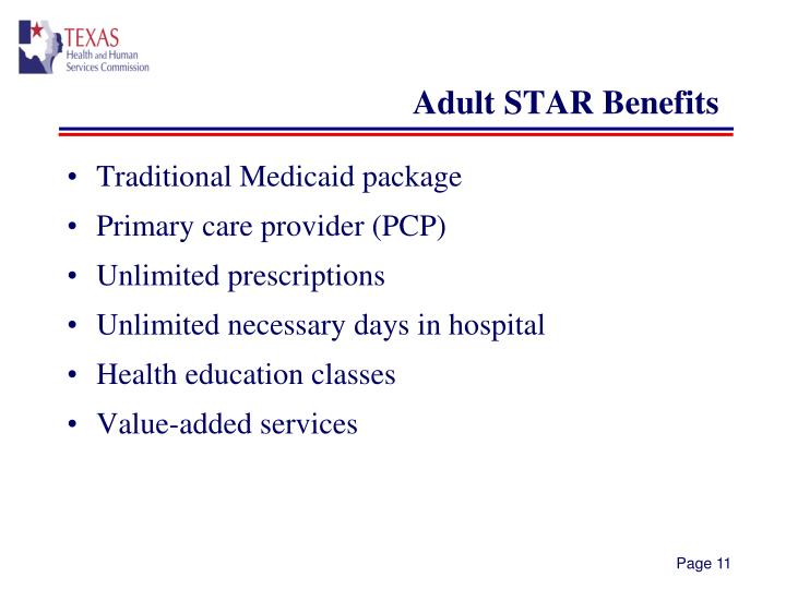 Adult STAR Benefits