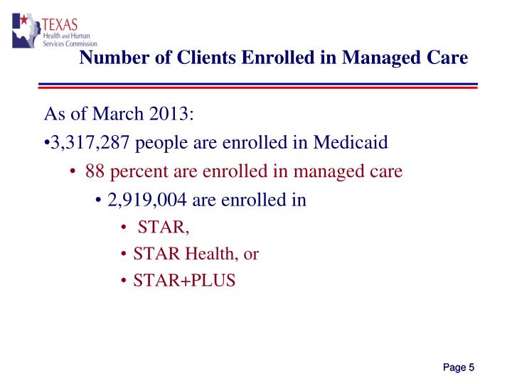 Number of Clients Enrolled in Managed Care
