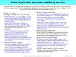 where to go to learn more about establishing causality