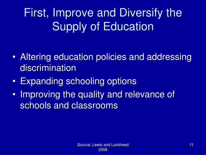 First, Improve and Diversify the Supply of Education