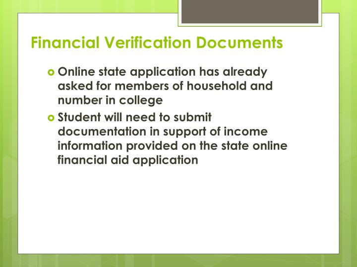 Financial Verification Documents