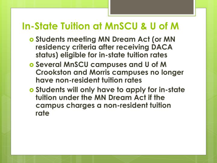In-State Tuition at MnSCU & U of M