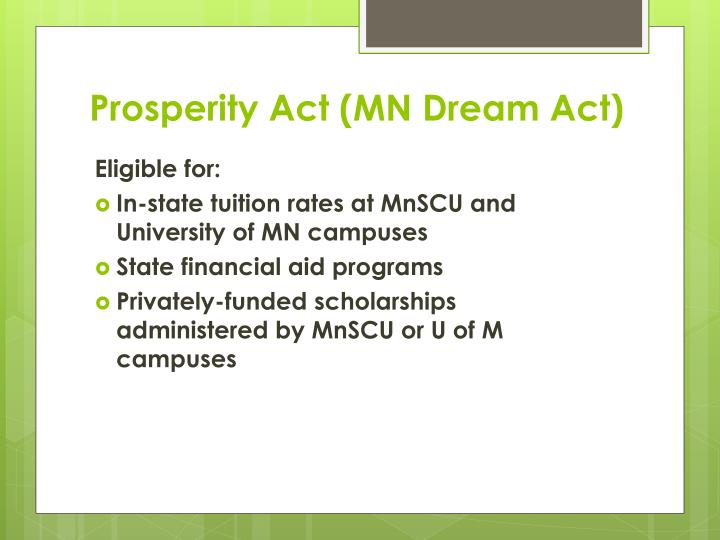 Prosperity Act (MN Dream Act)
