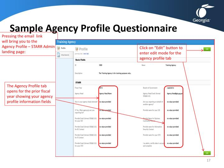 Sample Agency Profile Questionnaire