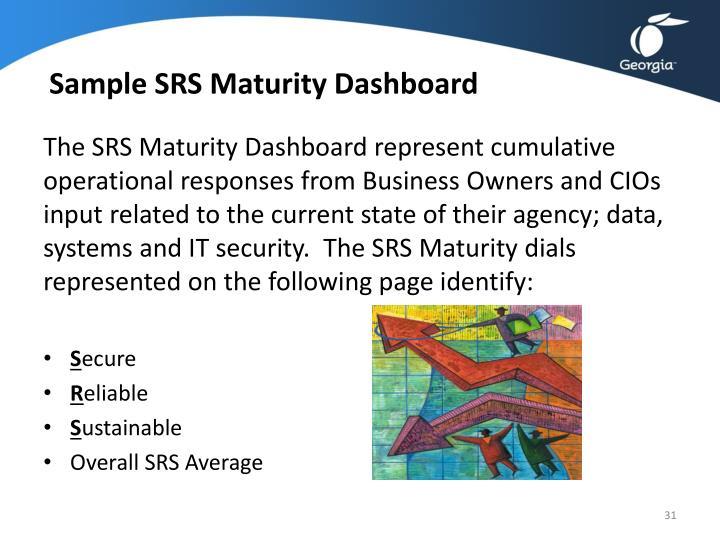 Sample SRS Maturity Dashboard