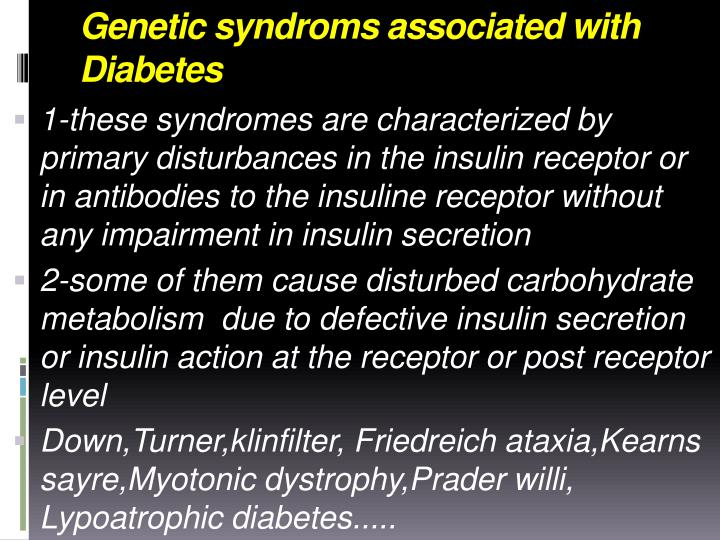 Genetic syndroms associated with Diabetes