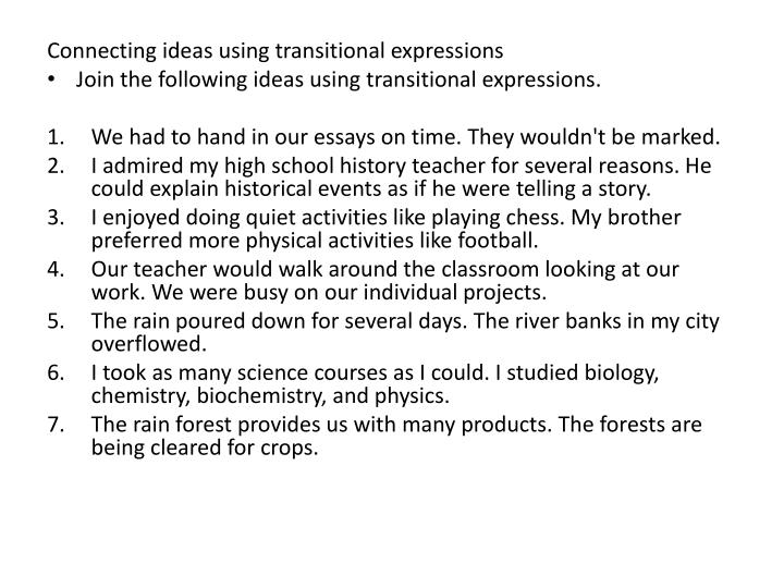 Connecting ideas using transitional expressions
