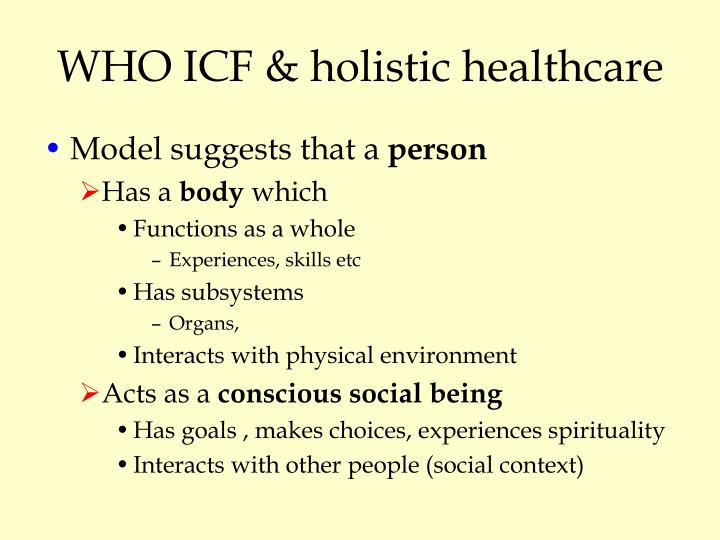 WHO ICF & holistic healthcare