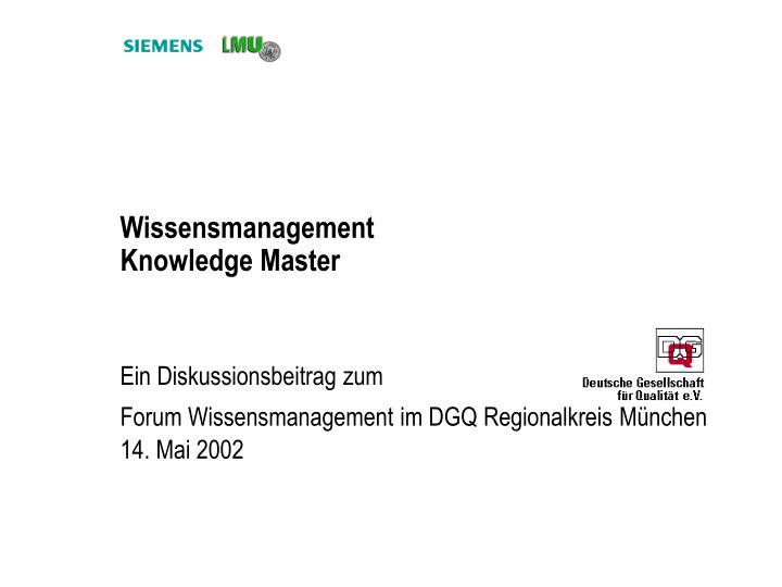 wissensmanagement knowledge master n.
