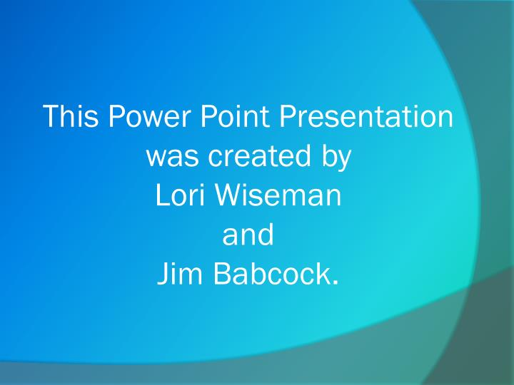 This Power Point Presentation