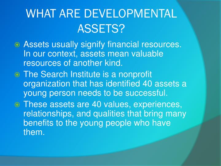 What are developmental assets