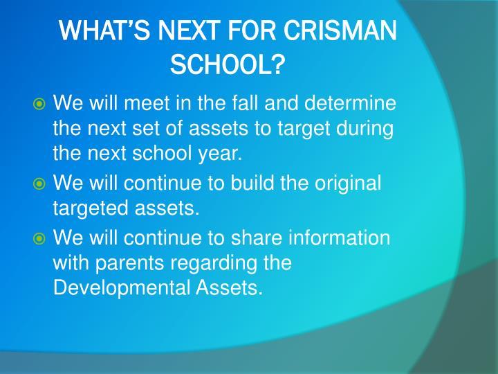 WHAT'S NEXT FOR CRISMAN SCHOOL?