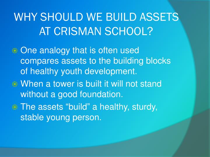 WHY SHOULD WE BUILD ASSETS AT