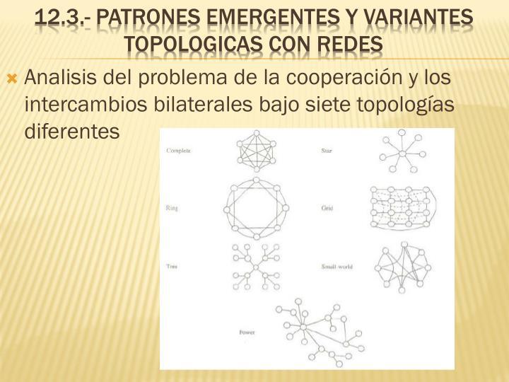 Analisis del problema de la cooperación y los intercambios bilaterales bajo siete topologías diferentes