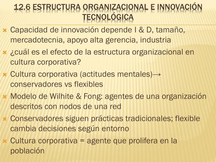 Capacidad de innovación depende I & D, tamaño, mercadotecnia, apoyo alta gerencia, industria