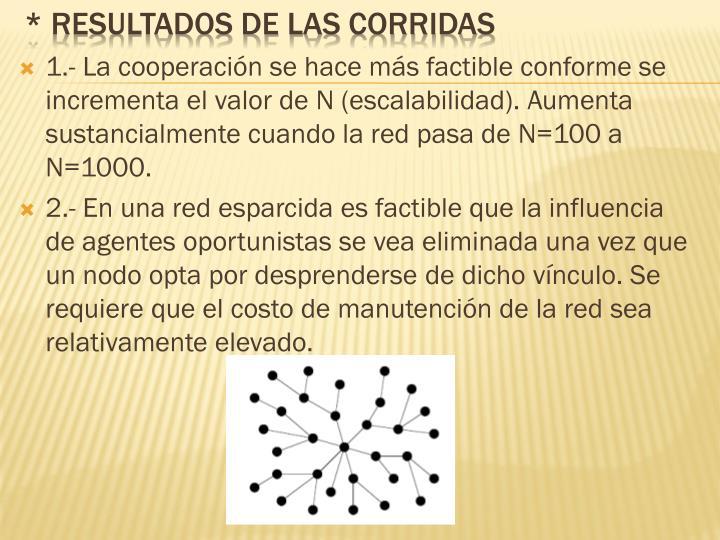 1.- La cooperación se hace más factible conforme se incrementa el valor de N (escalabilidad). Aumenta sustancialmente cuando la red pasa de N=100 a N=1000.
