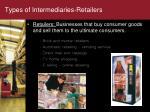 types of intermediaries retailers