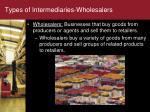 types of intermediaries wholesalers