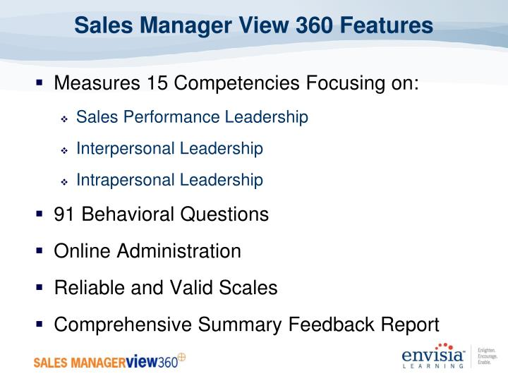 Sales Manager View 360 Features